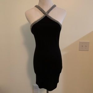 Black bodycon mini dress with bead detail